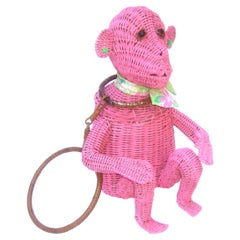 Whimsical Vintage Wicker Monkey Handbag With Lilly Pulitzer Fabric c 1950's