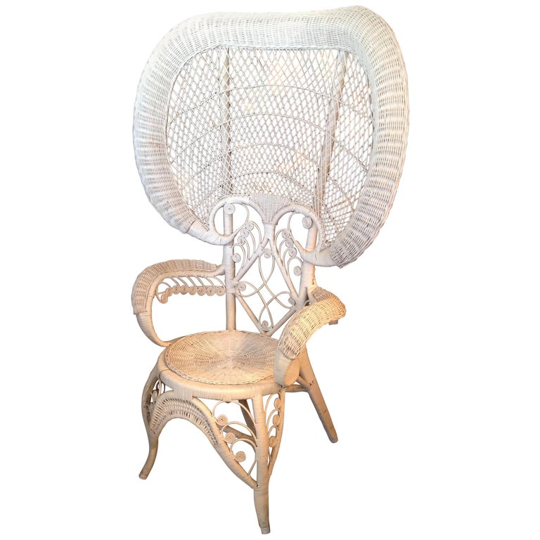 """Whimsical Wicker """"Peacock"""" Chair For Sale"""