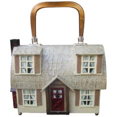 Whimsical Wood Enamel Handmade Artisan House Design Handbag c 1970s