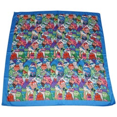 """""""Whimsical World of Cats"""" With Lapis Border Silk Scarf"""