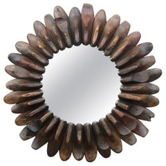 Whimsically-Assembled Circular Folk Art Mirror of Antique Wooden Shoe Molds