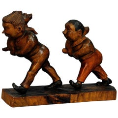 Whimsy Antique Woodcarving of Plisch and Plum by Wilhelm Busch