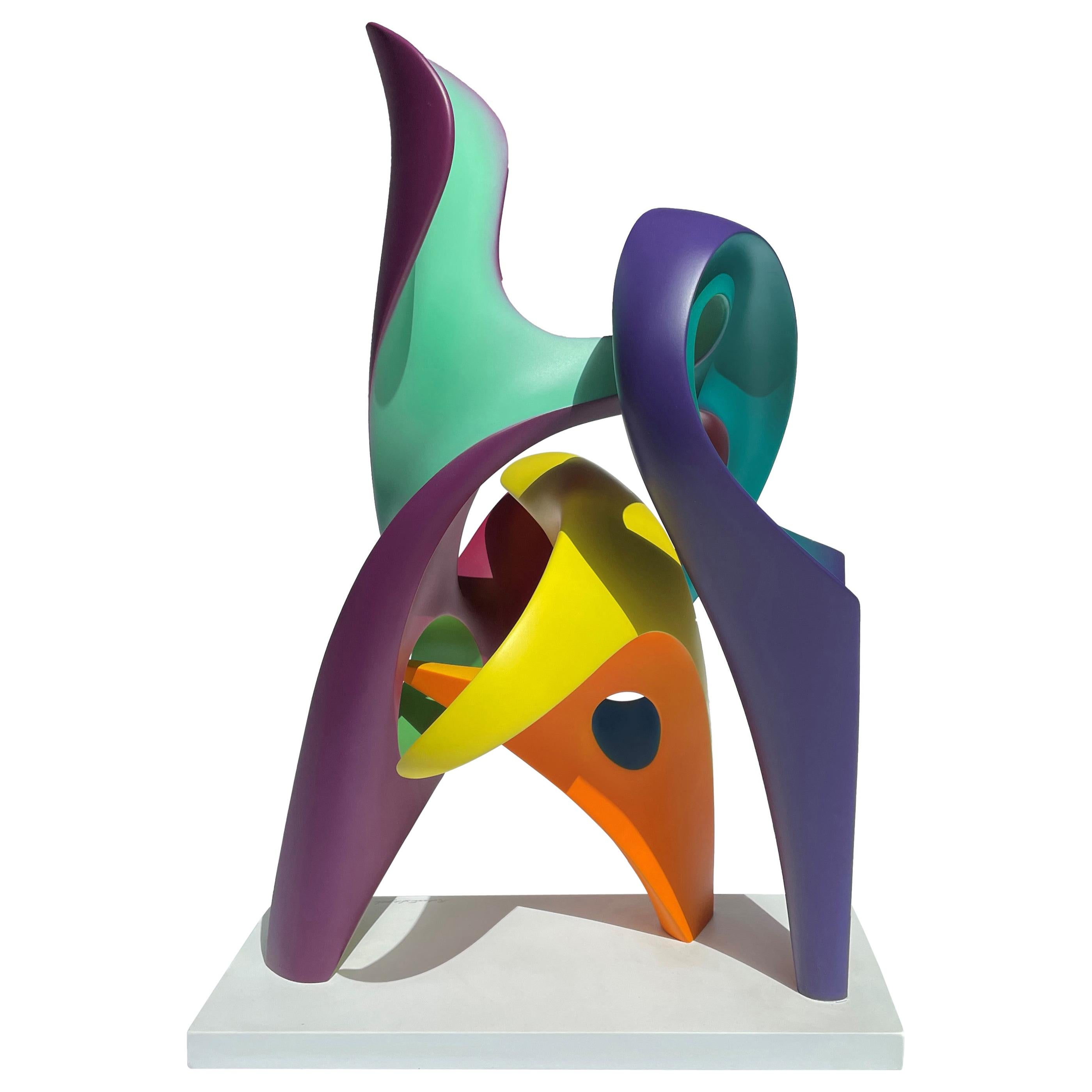 Whirligig, Abstract Sculpture, Brightly Colored Intertwined Geometric Form