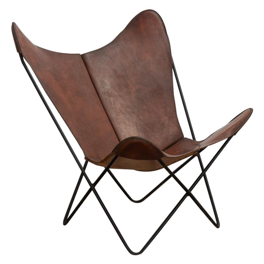 Whiskey Leather Knoll Butterfly Chair