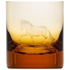 Whisky Crystal Tumbler with Engraved Horse #1 Topaz, 12.51 oz