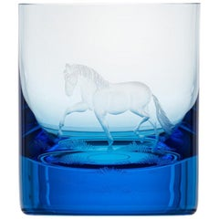 Whisky Crystal Tumbler with Engraved Horse #2 Aquamarine, 12.51 oz