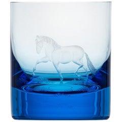 Whisky Crystal Tumbler with Engraved Horse #2 Aquamarine, 12.51 oz