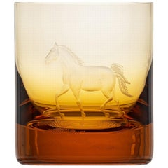 Whisky Crystal Tumbler with Engraved Horse #2 Topaz, 12.51 oz