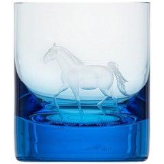 Whisky Crystal Tumbler with Engraved Horse #3 Aquamarine, 12.51 oz