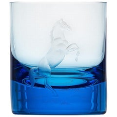 Whisky Crystal Tumbler with Engraved Horse #4 Aquamarine, 12.51 oz