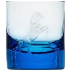 Whisky Crystal Tumbler with Engraved Horse #4 Aquamarine, 12.51 oz