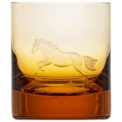 Whisky Crystal Tumbler with Engraved Horse #4 Topas, 12.51 oz