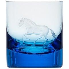 Whisky Crystal Tumbler with Engraved Horse #5 Aquamarine, 12.51 oz