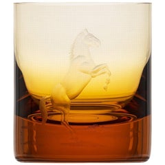 Whisky Crystal Tumbler with Engraved Horse #5 Topaz, 12.51 oz