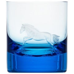 Whisky Crystal Tumbler with Engraved Horse #6 Aquamarine, 12.51 oz