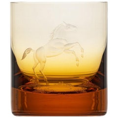 Whisky Crystal Tumbler with Engraved Horse #6 Topaz, 12.51 oz