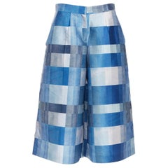 WHISTLES multi-sahde blue patchwork print wide leg flared culotte shorts US8