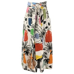 WHIT Size 2 Multi-Color Kimani Potted Plant Linen Skirt
