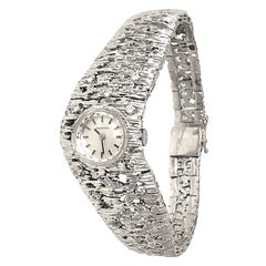 White 14 Karat Brushed Gold Diamond Watch Swiss Certina Gilbert Albert Design