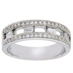 White 18 Karat Gold 0.67 Carat Diamonds Bridal Wedding Band Ring