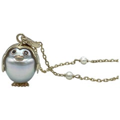 White 18 Karat Gold Australian Pearl Penguin Pendant Charm and Necklace