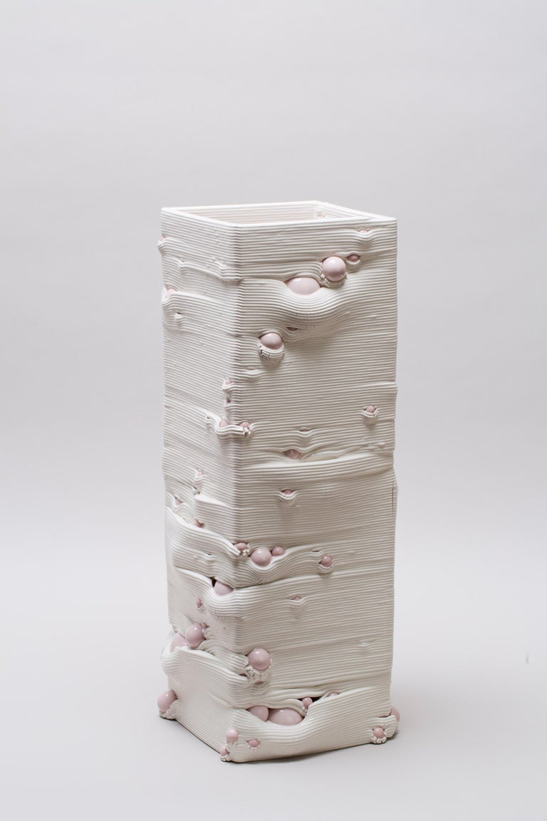 White 3D Printed Ceramic Sculptural Vase Italy Contemporary, 21st Century For Sale 6