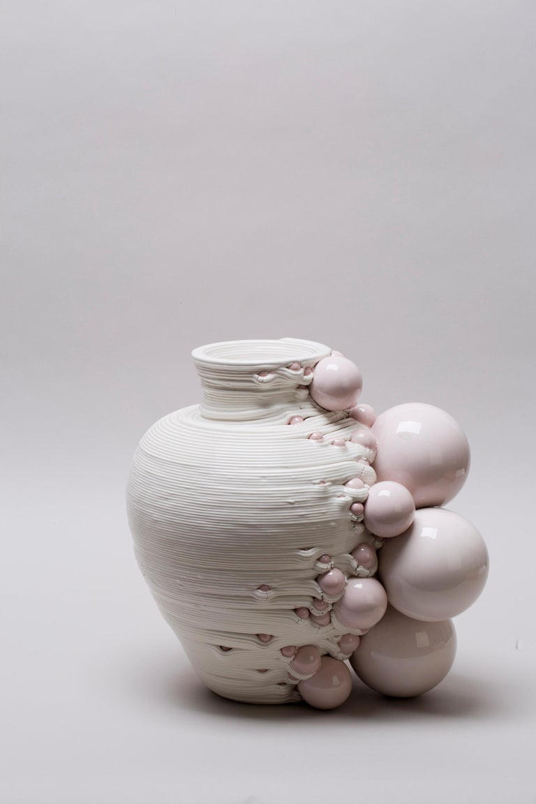 Glazed White 3D Printed Ceramic Sculptural Vase Italy Contemporary, 21st Century For Sale