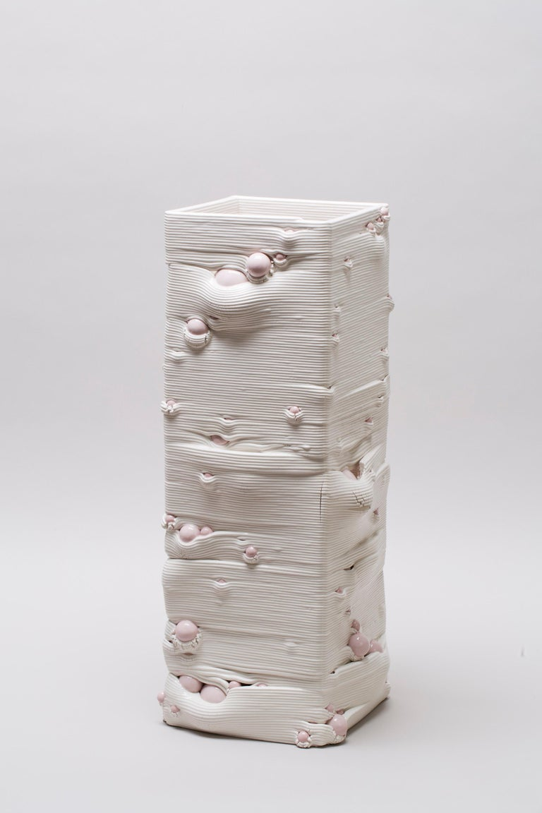 White 3D Printed Ceramic Sculptural Vase Italy Contemporary, 21st Century For Sale 8