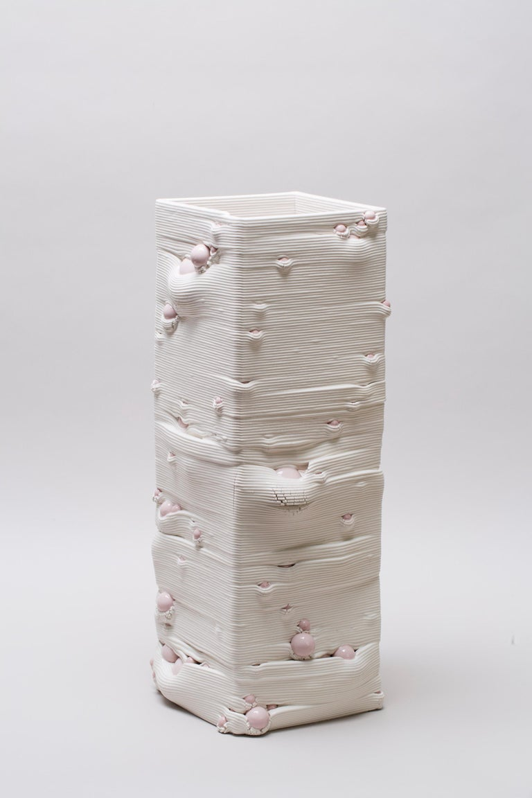 White 3D Printed Ceramic Sculptural Vase Italy Contemporary, 21st Century For Sale 9
