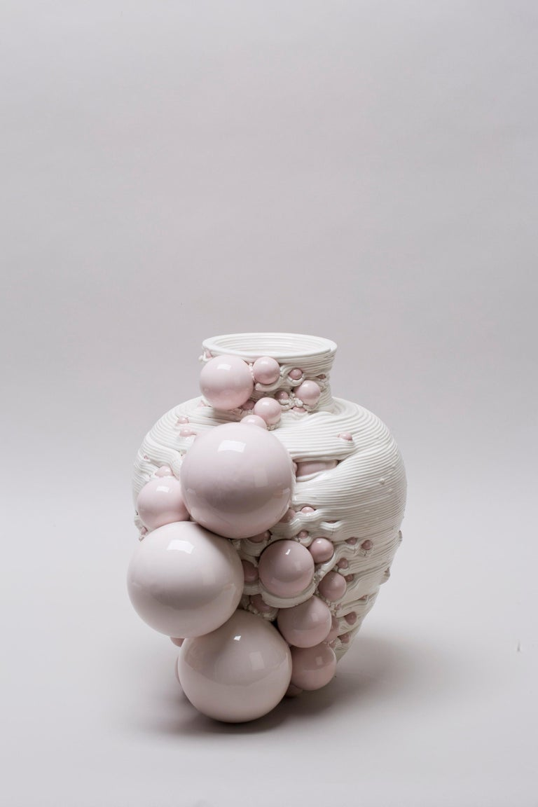 White 3D Printed Ceramic Sculptural Vase Italy Contemporary, 21st Century For Sale 12