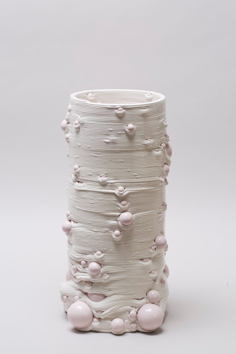 White 3D Printed Ceramic Sculptural Vase Italy Contemporary, 21st Century For Sale 3