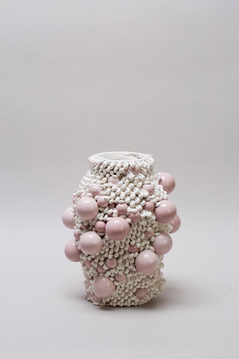 White 3D Printed Ceramic Sculptural Vase Italy Contemporary, 21st Century For Sale 4