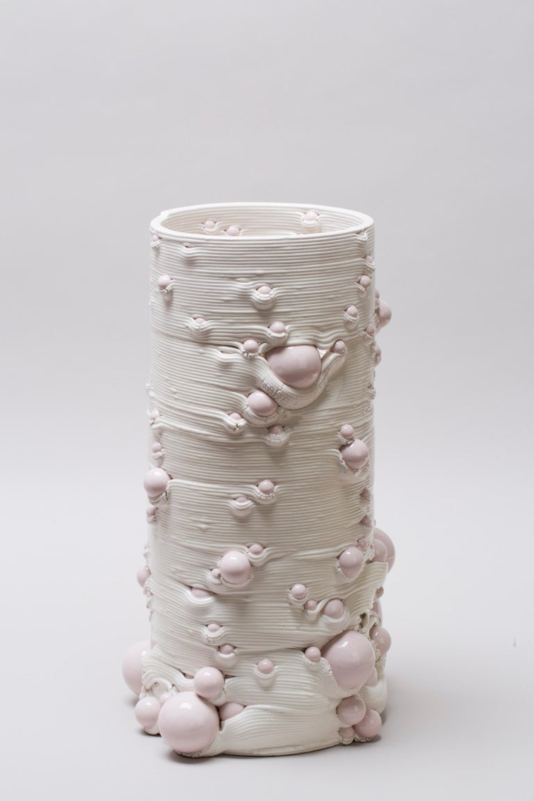 White 3D Printed Ceramic Sculptural Vase Italy Contemporary, 21st Century For Sale 5