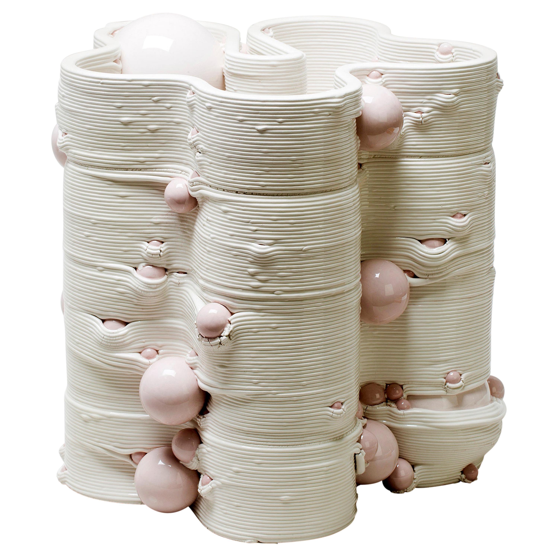White 3D Printed Ceramic Sculptural Vase Italy Contemporary, 21st Century