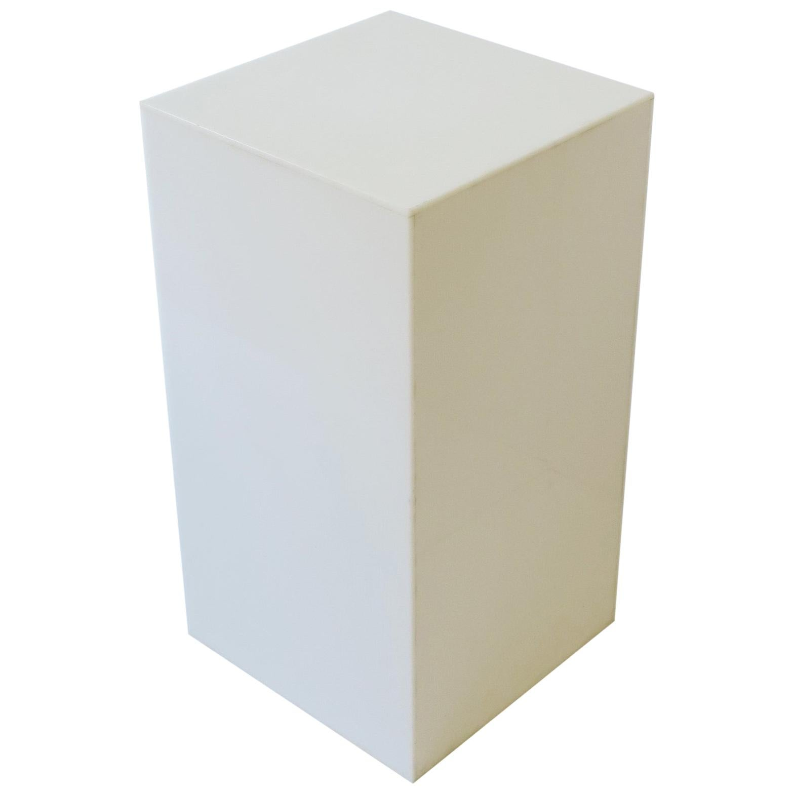 White Acrylic Pedestal Column Stand or End Table