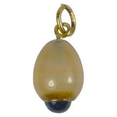 White Agate Blue Sapphire Gold Charm Pendant