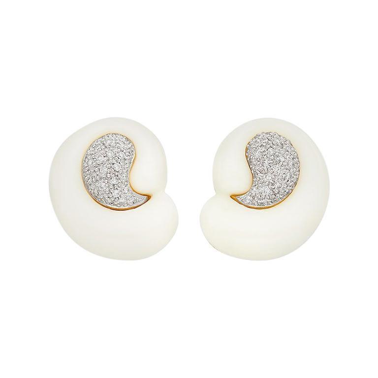 White Agate Diamond Earclips