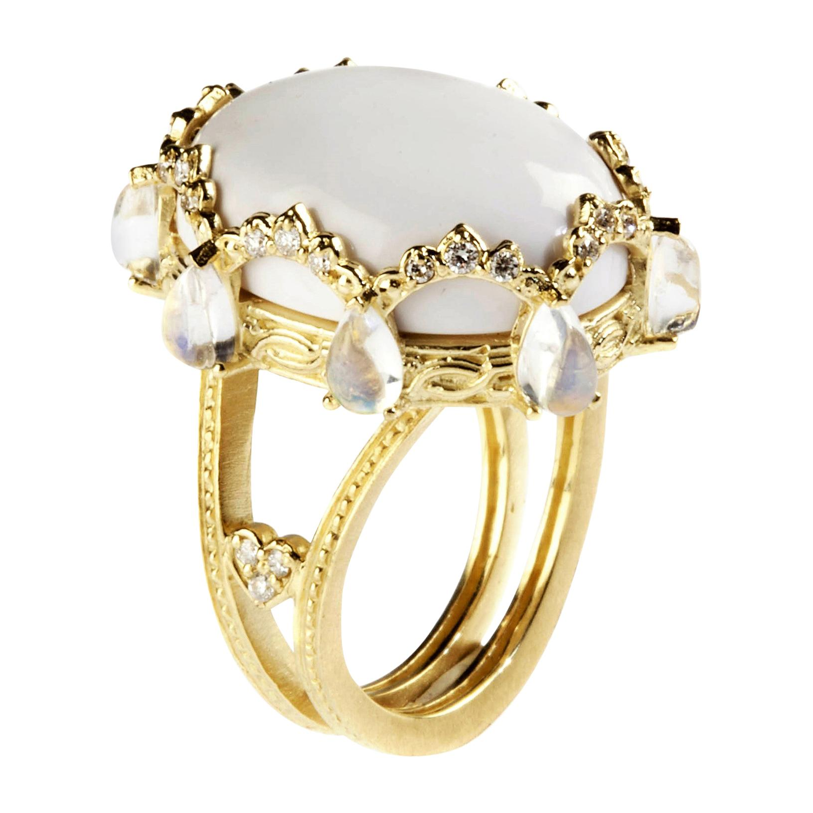 White Agate Diamond Gold Oval Ring with Rainbow Moonstones