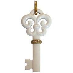 White Agate Fluer De Lis Key Pendant w/ 18k & Diamonds
