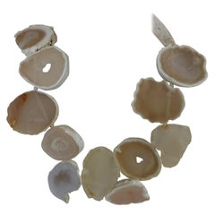 White Agate Natural Geods Gemstone Necklace
