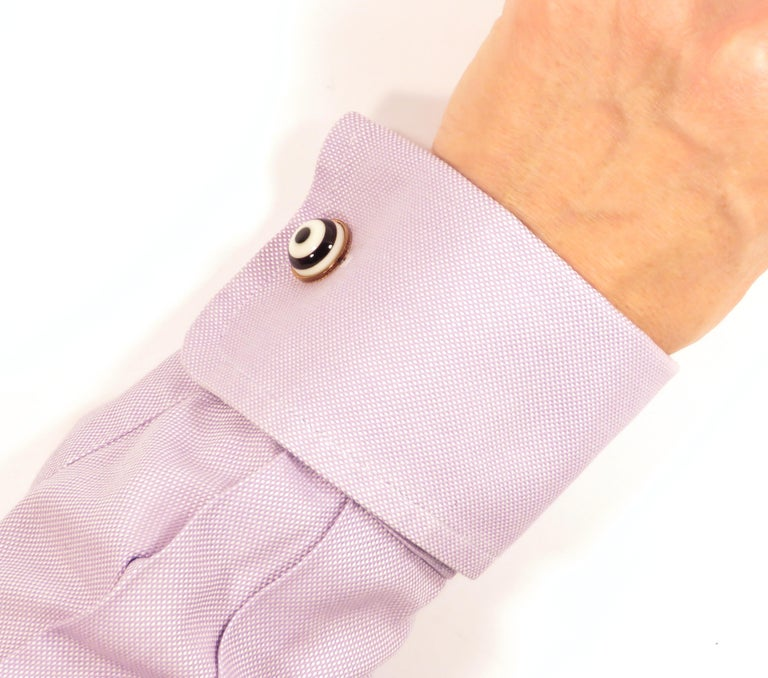 Cabochon White Agate Onyx 9 Karat Gold Cufflinks Handcrafted in Italy by Botta Gioielli For Sale
