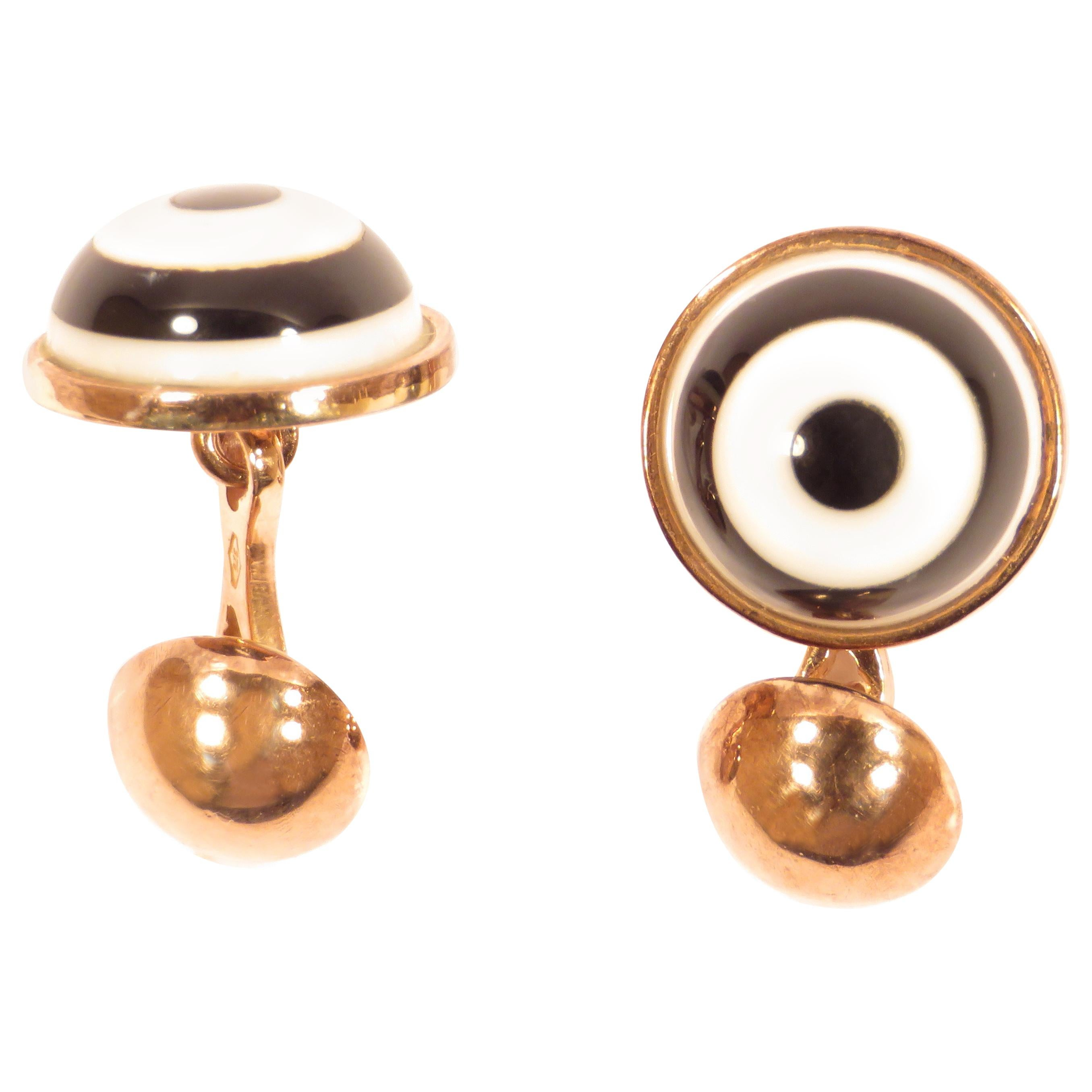 White Agate Onyx 9 Karat Gold Cufflinks Handcrafted in Italy by Botta Gioielli