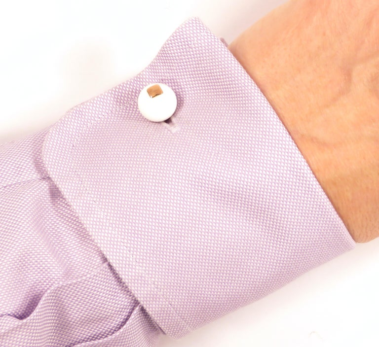 Modern White Agate Onyx Rose Gold Cufflinks Handcrafted in Italy by Botta Gioielli For Sale