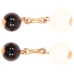 White Agate Onyx Rose Gold Cufflinks Handcrafted in Italy by Botta Gioielli