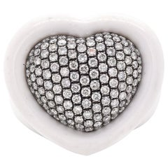 White Agate Pave Diamond Heart Ring