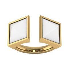 White Agate Pyramids Open Ring 18 Karat Yellow Gold Ring
