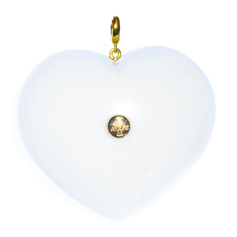 Contemporary White Agate, Rubies, Gold and Silver, Heart Pendant For Sale