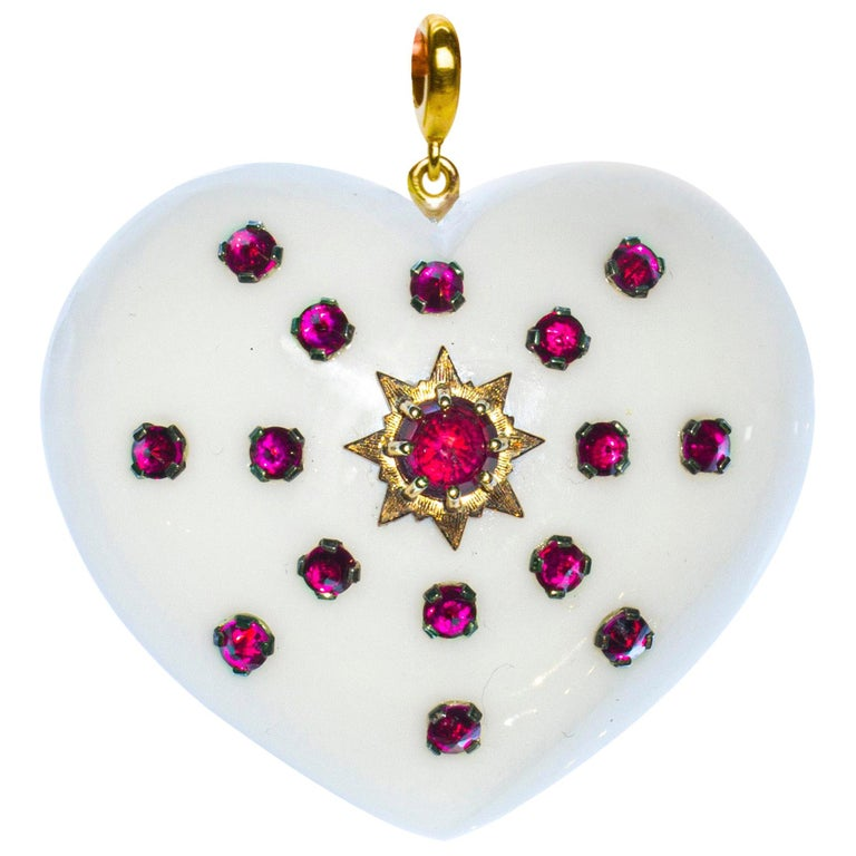 White Agate, Rubies, Gold and Silver, Heart Pendant For Sale