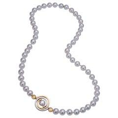 White Akoya Pearl Necklace with 2-Tone Interlocking Spiral