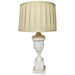 White Alabaster Lamp with Pleated Beige Lampshade